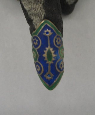 Ring. silver, enamel, 1 9/16 x 1 in. (4 x 2.5 cm). Brooklyn Museum, 25615. Creative Commons-BY