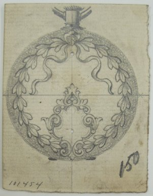 Frederick John Beck (1864-1917). Watch-case Design. Graphite on paper, 2 7/8 x 2 1/4 in. (7.3 x 5.7 cm). Brooklyn Museum, Gift of Herbert F. Beck and Frederick Lorenze Beck, 26.515.13. Creative Commons-BY