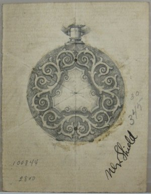 Frederick John Beck (1864-1917). Watch-case Design. Graphite on paper, 2 15/16 x 2 1/4 in. (7.5 x 5.7 cm). Brooklyn Museum, Gift of Herbert F. Beck and Frederick Lorenze Beck, 26.515.16. Creative Commons-BY