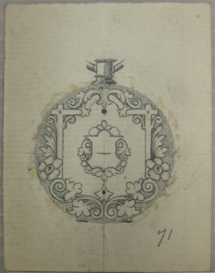 Frederick John Beck (1864-1917). Watch-case Design. Graphite on paper, 2 7/8 x 2 3/16 in. (7.3 x 5.6 cm). Brooklyn Museum, Gift of Herbert F. Beck and Frederick Lorenze Beck, 26.515.17. Creative Commons-BY