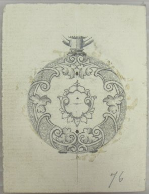Frederick John Beck (1864-1917). Watch-case Design. Graphite on paper, 2 15/16 x 2 3/16 in. (7.5 x 5.6 cm). Brooklyn Museum, Gift of Herbert F. Beck and Frederick Lorenze Beck, 26.515.20. Creative Commons-BY