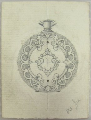 Frederick John Beck (1864-1917). Watch-case Design. Graphite on paper, 2 15/16 x 2 3/16 in. (7.5 x 5.6 cm). Brooklyn Museum, Gift of Herbert F. Beck and Frederick Lorenze Beck, 26.515.21. Creative Commons-BY