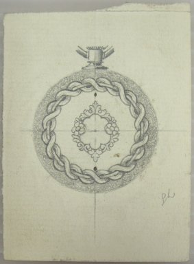 Frederick John Beck (1864-1917). Watch-case Design. Graphite on paper, 3 1/16 x 2 1/4 in. (7.8 x 5.7 cm). Brooklyn Museum, Gift of Herbert F. Beck and Frederick Lorenze Beck, 26.515.22. Creative Commons-BY