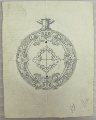 Frederick John Beck (1864-1917). Watch-case Design. Graphite on paper, 2 15/16 x 2 1/4 in. (7.5 x 5.7 cm). Brooklyn Museum, Gift of Herbert F. Beck and Frederick Lorenze Beck, 26.515.23. Creative Commons-BY
