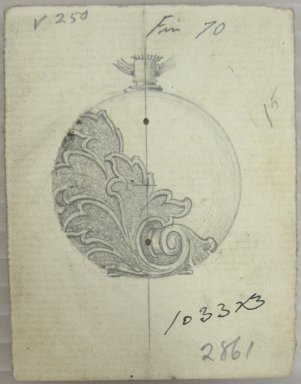 Frederick John Beck (1864-1917). Watch-case Design. Graphite on paper, 2 15/16 x 2 1/4 in. (7.5 x 5.7 cm). Brooklyn Museum, Gift of Herbert F. Beck and Frederick Lorenze Beck, 26.515.27. Creative Commons-BY