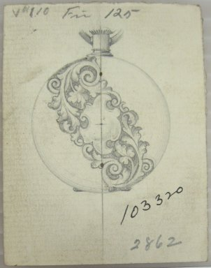 Frederick John Beck (1864-1917). Watch-case Design. Graphite on paper, 2 7/8 x 2 1/4 in. (7.3 x 5.7 cm). Brooklyn Museum, Gift of Herbert F. Beck and Frederick Lorenze Beck, 26.515.28. Creative Commons-BY