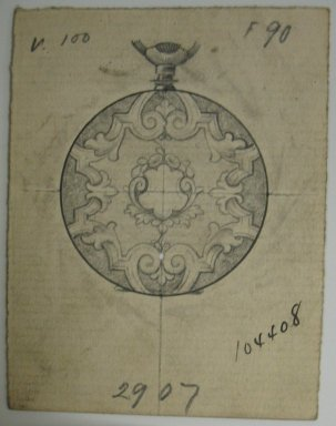 Frederick John Beck (1864-1917). Watch-case Design. Graphite and ink on paper, 2 15/16 x 2 1/4 in. (7.5 x 5.7 cm). Brooklyn Museum, Gift of Herbert F. Beck and Frederick Lorenze Beck, 26.515.41. Creative Commons-BY