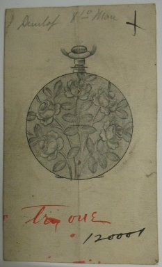 Frederick John Beck (American, 1864-1917). Watch-case Design. Graphite and ink on paper, 3 5/8 x 2 3/16 in. (9.2 x 5.6 cm). Brooklyn Museum, Gift of Herbert F. Beck and Frederick Lorenze Beck, 26.515.42. Creative Commons-BY