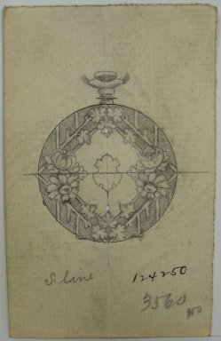 Frederick John Beck (1864-1917). Watch-case Design. Graphite and ink on paper, 3 1/2 x 2 3/16 in. (8.9 x 5.6 cm). Brooklyn Museum, Gift of Herbert F. Beck and Frederick Lorenze Beck, 26.515.44. Creative Commons-BY