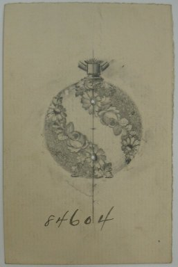 Frederick John Beck (1864-1917). Watch-case Design. Graphite on paper, 3 15/16 x 2 9/16 in. (10 x 6.5 cm). Brooklyn Museum, Gift of Herbert F. Beck and Frederick Lorenze Beck, 26.515.47. Creative Commons-BY