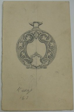Frederick John Beck (1864-1917). Watch-case Design. Graphite on paper, 3 15/16 x 2 1/2 in. (10 x 6.4 cm). Brooklyn Museum, Gift of Herbert F. Beck and Frederick Lorenze Beck, 26.515.49. Creative Commons-BY