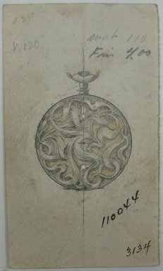 Frederick John Beck (1864-1917). Watch-case Design. Graphite, ink and watercolor on paper, 3 5/8 x 2 1/16 in. (9.2 x 5.2 cm). Brooklyn Museum, Gift of Herbert F. Beck and Frederick Lorenze Beck, 26.515.5. Creative Commons-BY