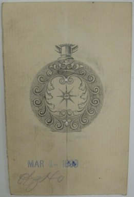 Frederick John Beck (1864-1917). Watch-case Design. Graphite on paper, 3 15/16 x 2 1/2 in. (10 x 6.4 cm). Brooklyn Museum, Gift of Herbert F. Beck and Frederick Lorenze Beck, 26.515.51. Creative Commons-BY