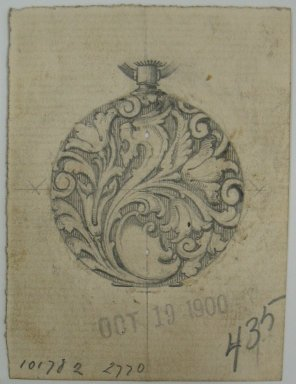Frederick John Beck (1864-1917). Watch-case Design. Graphite and ink on paper, 2 15/16 x 2 3/16 in. (7.5 x 5.6 cm). Brooklyn Museum, Gift of Herbert F. Beck and Frederick Lorenze Beck, 26.515.59. Creative Commons-BY