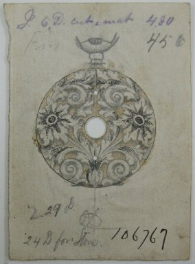 Frederick John Beck (1864-1917). Watch-case Design. Graphite, ink and watercolor on paper, 3 x 2 3/16 in. (7.6 x 5.6 cm). Brooklyn Museum, Gift of Herbert F. Beck and Frederick Lorenze Beck, 26.515.6. Creative Commons-BY