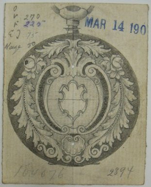 Frederick John Beck (1864-1917). Watch-case Design. Graphite, ink and watercolor on paper, 2 7/8 x 2 5/16 in. (7.3 x 5.9 cm). Brooklyn Museum, Gift of Herbert F. Beck and Frederick Lorenze Beck, 26.515.61. Creative Commons-BY