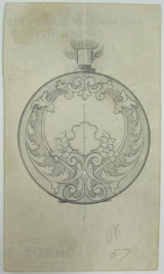 Frederick John Beck (1864-1917). Watch-case Design. Graphite and ink on paper, 4 1/16 x 2 3/8 in. (10.3 x 6 cm). Brooklyn Museum, Gift of Herbert F. Beck and Frederick Lorenze Beck, 26.515.68. Creative Commons-BY