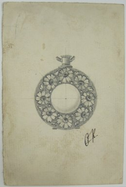 Frederick John Beck (1864-1917). Watch-case Design. Graphite on paper, 4 3/8 x 2 15/16 in. (11.1 x 7.5 cm). Brooklyn Museum, Gift of Herbert F. Beck and Frederick Lorenze Beck, 26.515.69. Creative Commons-BY