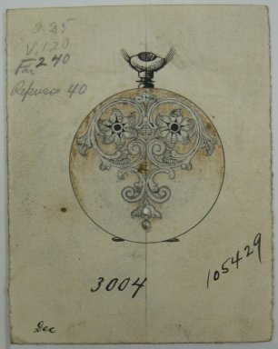 Frederick John Beck (1864-1917). Watch-case Design. Graphite, ink and watercolor on paper, 2 7/8 x 2 1/4 in. (7.3 x 5.7 cm). Brooklyn Museum, Gift of Herbert F. Beck and Frederick Lorenze Beck, 26.515.7. Creative Commons-BY