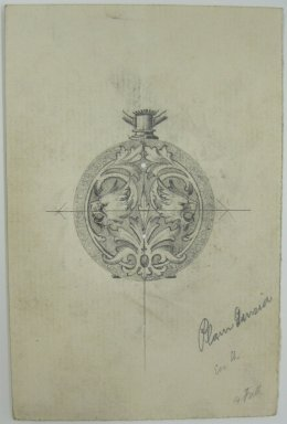 Frederick John Beck (1864-1917). Watch-case Design. Graphite on paper, 4 7/16 x 2 15/16 in. (11.3 x 7.5 cm). Brooklyn Museum, Gift of Herbert F. Beck and Frederick Lorenze Beck, 26.515.70. Creative Commons-BY
