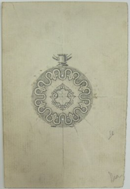 Frederick John Beck (1864-1917). Watch-case Design. Graphite on paper, 4 3/8 x 2 15/16 in. (11.1 x 7.5 cm). Brooklyn Museum, Gift of Herbert F. Beck and Frederick Lorenze Beck, 26.515.72. Creative Commons-BY