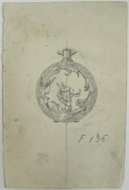Frederick John Beck (1864-1917). Watch-case Design. Graphite on paper, 4 7/16 x 2 15/16 in. (11.3 x 7.5 cm). Brooklyn Museum, Gift of Herbert F. Beck and Frederick Lorenze Beck, 26.515.73. Creative Commons-BY