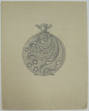 Frederick John Beck (1864-1917). Watch-case Design. Graphite on paper, 3 1/2 x 2 3/4 in. (8.9 x 7 cm). Brooklyn Museum, Gift of Herbert F. Beck and Frederick Lorenze Beck, 26.515.82. Creative Commons-BY