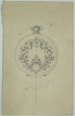 Frederick John Beck (1864-1917). Watch-case Design. Graphite on paper, 4 x 2 9/16 in. (10.2 x 6.5 cm). Brooklyn Museum, Gift of Herbert F. Beck and Frederick Lorenze Beck, 26.515.85. Creative Commons-BY