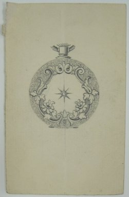 Frederick John Beck (1864-1917). Watch-case Design. Graphite on paper, 4 x 2 9/16 in. (10.2 x 6.5 cm). Brooklyn Museum, Gift of Herbert F. Beck and Frederick Lorenze Beck, 26.515.88. Creative Commons-BY
