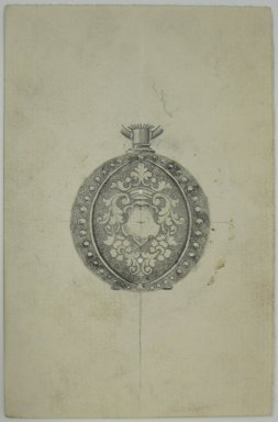 Frederick John Beck (1864-1917). Watch-case Design. Graphite and ink on paper, 4 7/16 x 2 7/8 in. (11.3 x 7.3 cm). Brooklyn Museum, Gift of Herbert F. Beck and Frederick Lorenze Beck, 26.515.90. Creative Commons-BY