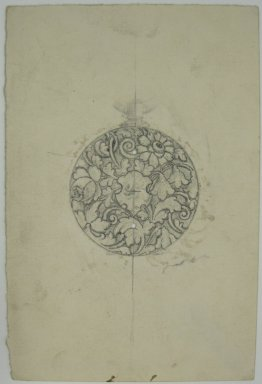 Frederick John Beck (1864-1917). Watch-case Design. Graphite on paper, 4 3/8 x 2 15/16 in. (11.1 x 7.5 cm). Brooklyn Museum, Gift of Herbert F. Beck and Frederick Lorenze Beck, 26.515.94. Creative Commons-BY