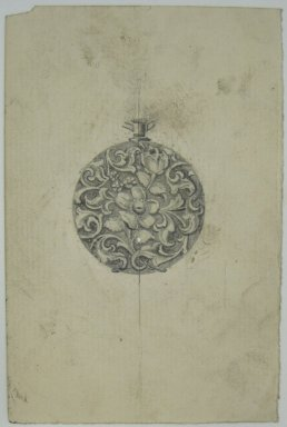 Frederick John Beck (1864-1917). Watch-case Design. Graphite and ink on paper, 4 7/16 x 2 15/16 in. (11.3 x 7.5 cm). Brooklyn Museum, Gift of Herbert F. Beck and Frederick Lorenze Beck, 26.515.95. Creative Commons-BY