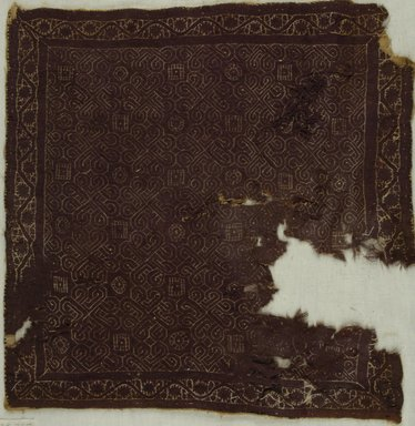 Coptic. Textile, 3rd-4th century C.E. Flax?, wool, 15 1/2 x 15 3/4 in. (39.4 x 40 cm). Brooklyn Museum, Gift of the Long Island Historical Society, 26.735. Creative Commons-BY