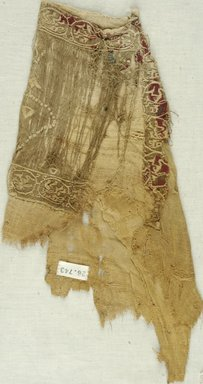 Coptic. Tunic, 6th century C.E. Flax, wool, 14 x 7 3/4 in. (35.6 x 19.7 cm). Brooklyn Museum, Gift of the Long Island Historical Society, 26.743. Creative Commons-BY