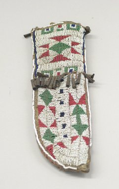 Oglala, Lakota, Sioux (Native American). Beaded Knife Sheath, Part of War Outfit, ca. 1880. Hide, beads, metal, sinew, 3 x 10 in. (7.6 x 25.4 cm). Brooklyn Museum, Robert B. Woodward Memorial Fund, 26.789. Creative Commons-BY