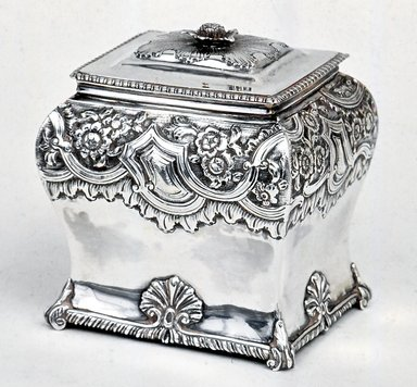 Humphrey Payne (English,). Tea Caddy, 1746. Silver, 5 x 3 1/4 x 4 1/4 in. (12.7 x 8.3 x 10.8 cm). Brooklyn Museum, Gift of Reverend Alfred Duane Pell, 26.811.3a-b. Creative Commons-BY