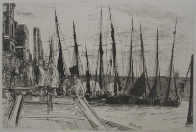 James Abbott McNeill Whistler (American, 1834-1903). Billingsgate, 1859. Etching on paper, Image: 5 15/16 x 8 7/8 in. (15.1 x 22.5 cm). Brooklyn Museum, Gift of F. Ethel Wickham, 27.124