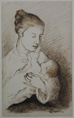 Ralph Albert Blakelock (American, 1847-1919). Mother and Child, ca. 1871. Pen and sepia ink on back of business card, Sheet: 4 7/8 x 3 in. (12.4 x 7.6 cm). Brooklyn Museum, Gift of Mr. and Mrs. E. Le Grand Beers in memory of Edwin Beers, 27.22
