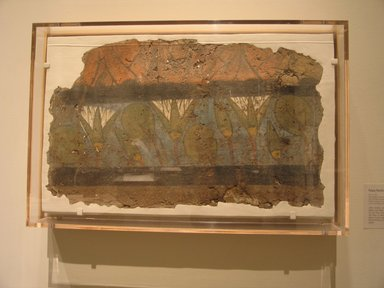Large Fragment of Fresco, ca. 1352-1336 B.C. Mud, painted, 15 3/4 x 25 1/2 x 1 1/2 in. (40 x 64.8 x 3.8 cm). Brooklyn Museum, Gift of the Egypt Exploration Society, 27.35. Creative Commons-BY