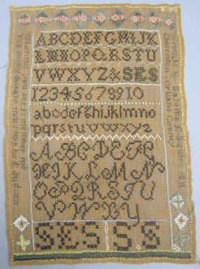 Salome E. Squire. Sampler, 1811. Linen, embroidery thread, 11 1/4 x 8 in. (28.6 x 20.3 cm). Brooklyn Museum, 27.438. Creative Commons-BY