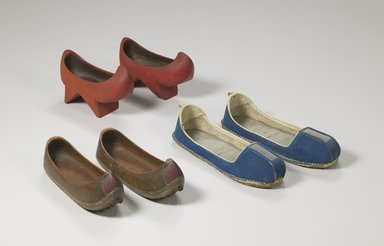Pair of Children's Clogs (Namakshin), 19th century. Wood, red paint, 3 5/16 x 11 5/8 in. (8.4 x 29.5 cm). Brooklyn Museum, Brooklyn Museum Collection, X1138a-b. Creative Commons-BY