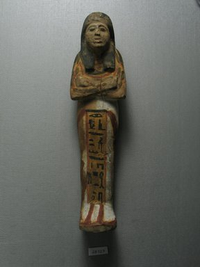 Ushabti, ca. 1539-1292 B.C.E. Faience, 8 3/4 x 2 1/4 x 1 7/8 in. (22.3 x 5.7 x 4.7 cm). Brooklyn Museum, Gift of the Long Island Historical Society, 28.527. Creative Commons-BY