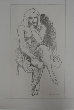 Walt Kuhn (American, 1877-1949). Pensive, n.d. Lithograph on paper, Sheet: 18 9/16 x 12 5/8 in. (47.1 x 32.1 cm). Brooklyn Museum, Gift of Dr. William H. Fox, 28.762. © Estate of Walt Kuhn