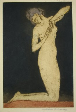 Arthur B. Davies (American, 1862-1928). Dawn, 1922. Aquatint on white laid paper, Sheet: 14 3/8 x 10 1/4 in. (36.5 x 26 cm). Brooklyn Museum, Frederick Loeser Fund, 28.99