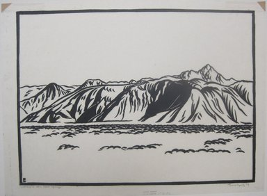 Franz Geritz (American, 1895-1945). Cathedral Mountains, Palm Springs, 1929. Linocut on Japanese tissue paper, 8 11/16 x 11 13/16 in. (22 x 30 cm). Brooklyn Museum, Frank Sherman Benson Fund, 29.1271