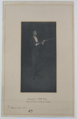 James Abbott McNeill Whistler (American, 1834-1903). Arrangement in Black, Number Nine (Portrait of Señor Don Pablo de Sarasate). Photograph, Sheet: 12 7/8 x 8 1/16 in. (32.7 x 20.5 cm). Brooklyn Museum, Gift of Mrs. John White Alexander, 31.213