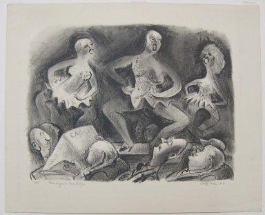 Adolf Arthur Dehn (American, 1895-1968). Burlesque in Brooklyn, 1929. Lithograph on cream-colored wove paper, Image: 13 3/8 x 17 1/2 in. (34 x 44.5 cm). Brooklyn Museum, Gift of Mrs. Albert de Silver, 31.590. © Estate of Adolf Arthur Dehn