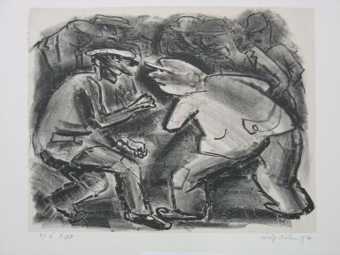 Adolf Arthur Dehn (American, 1895-1968). Fight, 1930. Lithograph on China paper laid down mounted to paperboard, Sheet: 9 1/16 x 11 1/2 in. (23 x 29.2 cm). Brooklyn Museum, Gift of Mrs. Albert de Silver, 31.595. © Estate of Adolf Arthur Dehn