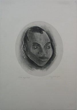 Adolf Arthur Dehn (American, 1895-1968). Negress Head, 1930. Lithograph on grey China paper laid down, Sheet: 19 3/4 x 13 5/8 in. (50.2 x 34.6 cm). Brooklyn Museum, Gift of Mrs. Albert de Silver, 31.601. © Estate of Adolf Arthur Dehn