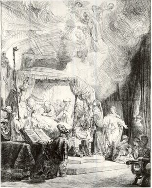 Rembrandt Harmensz. van Rijn (Dutch, 1606-1669). The Death of the Virgin, 1639. Etching and drypoint on laid paper, Plate: 16 1/8 x 12 3/8 in. (41 x 31.4 cm). Brooklyn Museum, Gift of Mr. and Mrs. William A. Putnam, 31.782